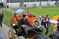 KAATSEN: WOMMELS: 07-08-2013, Freule Kaatspartij, Dronryp VvV Sjirk de Wal, winnaars in de koets, Sybren Blanksma, Wierd Baarda, Sander Kingma, ©foto Martin de Jong