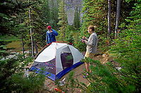 Skyline Trail, Jasper National Park, Alberta, Canada, July 2006. Curator Campsite. Trekking the Skyline Trail takes you over mountain ridges and through green alpine meadows offering spectaculair mountain landscapes and lots of wildlife. Photo by Frits Meyst/Adventure4ever.com.