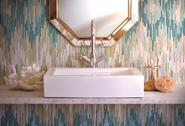 Loom, a handmade jewel glass mosaic shown in Quartz, Aquamarine, Tanzanite and Turquoise, is part of the Ikat Collection by Sara Baldwin for New Ravenna Mosaics.<br />