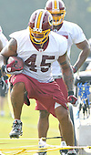 Ashburn, VA - July 20, 2008 -- Fullback Mike Sellers (45) carries the ball as he participates in a rope drill during the morning session of the opening day of the 2008 Washington Redskins training camp at Redskins Park in Ashburn Virginia on Sunday, July 20, 2008..Credit: Ron Sachs / CNP