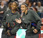 Apr. 5, 2014; Notre Dame Kayla McBride and Jewel Loyd were honored as WBCA All-Americans at the Final Four at  Bridgestone Arena in Nashville, Tenn. Notre Dame Fighting Irish square off against Maryland Terrapins Sunday night in the national semifinal of the NCAA Final Four tournament.  Photo by Barbara Johnston/University of Notre Dame