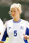 24 July 2005: Iceland's Asta Arnadottir, pregame. The United States defeated Iceland 3-0 at the Home Depot Center in Carson, California in a Women's International Friendly soccer match.
