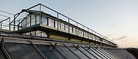 Tropical Rainforest Glasshouse (formerly Le Jardin d'Hiver or Winter Gardens), 1936, René Berger, Jardin des Plantes, Museum National d'Histoire Naturelle, Paris, France. Low angle view showing the glass and metal roof structure of the Art Deco building.