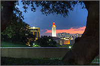 After a Longhorn football win, the UT Tower glows orange in the evening Austin, Texas sky. This image of the campus area looks west from the LBJ Library lawn.