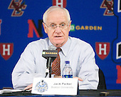 Jack Parker (BU - Head Coach) - The Boston College Eagles defeated the Boston University Terriers 3-2 (OT) in their Beanpot opener on Monday, February 7, 2011, at TD Garden in Boston, Massachusetts.