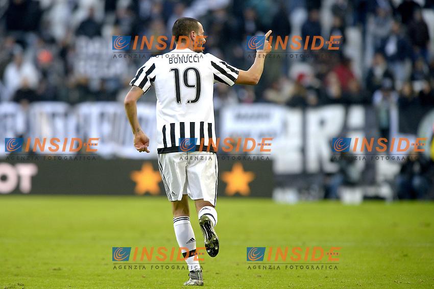 Esultanza Leonardo Bonucci dopo gol, goal celebration,<br /> Torino 06-01-2016, Juventus Stadium, Football Calcio 2015/2016 Serie A, Juventus - Verona, Foto Filippo Alfero/Insidefoto