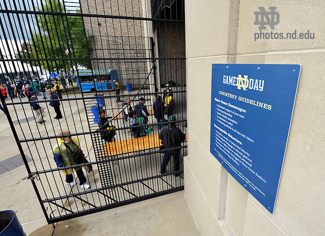 Oct. 3, 2009; South Bend, IN, USA; Gameday courtesy guidelines posted outside each entrance gate of Notre Dame Stadium.