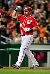 23 April 2010: Washington Nationals' first baseman Adam Dunn comes home to score after hitting his second home run of the game against the Los Angeles Dodgers at Nationals Park in Washington, DC. The Nationals defeated the Dodgers 5-1 in the first game of their 3-game series. Mandatory Credit: Ed Wolfstein Photo