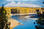 Fishermen in a drift boat on the Clark Fork River west of Missoula, Montana. On a fall day with cottonwood trees along the shore in full color.