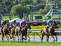 ARCADIA, CA APRIL 8:  #1 Sircat Sally ridden by Mike Smith first time past the grandstand in the Providencia Stakes (Grade lll) on April 8, 2017 at Santa Anita Park in Arcadia, CA. (Photo by Casey Phillips/Eclipse Sportswire/Getty Images)