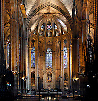 Apse pictured on February 8, 2011 in the Cathedral of the Holy Cross and Saint Eulalia, 1298 - 1450, in Barcelona, Catalonia, Spain. Picture by Manuel Cohen