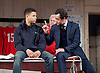 The Red Lion <br /> by Patrick Marber <br /> at the Dorfman Theatre, NT, Southbank, London, Great Britain <br /> press photocall <br /> 9th June 2015 <br /> <br /> Calvin Demba as Jordan <br /> Peter Wight as Yates<br /> Daniel Mays as Kidd<br /> <br /> <br /> <br /> <br /> <br /> Photograph by Elliott Franks <br /> Image licensed to Elliott Franks Photography Services
