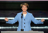 Colonel Eileen Collins, Retired, First Female Commander, US Space Shuttle makes remarks at the 2016 Republican National Convention held at the Quicken Loans Arena in Cleveland, Ohio on Wednesday, July 20, 2016.<br /> Credit: Ron Sachs / CNP<br /> (RESTRICTION: NO New York or New Jersey Newspapers or newspapers within a 75 mile radius of New York City)