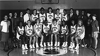 1991: Women's Basketball Team.  Standing (left to right): Trainer Karen Middleton, Asst. Coach Julie Plank, Head Coach Tara VanDerveer, Asst. Coach Lisa McNamee, Asst. Mgr. Raymond John, Chris MacMurdo, Val Whiting, Anita Kaplan, Rachel Hemmer, Kelly Dougherty, Asst. Mgr. Art Romero, Assoc. Coach Amy Tucker, Asst. Coach Carolyn Jenkins, Mgr. Angela Young, Assoc. Mgr. Marla Tuchinsky.  Sitting (left to right): Bobbie Kelsey, Molly Goodenbour, Christy Hedgpeth, Angela Taylor, Ann Adkins, Tanda Rucker, Niki Sevillian, Kate Paye.