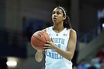 03 February 2013: North Carolina's Erika Johnson. The University of North Carolina Tar Heels played the Duke University Blue Devils at Carmichael Arena in Chapel Hill, North Carolina in an NCAA Division I Women's Basketball game. Duke won the game 84-63.