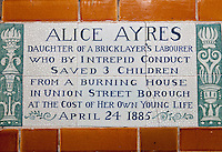 Postman's Park and the Memorial to Heroic Self Sacrifice, London