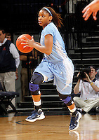 CHARLOTTESVILLE, VA- JANUARY 5: Brittany Rountree #11 of the North Carolina Tar Heels handles the ball during the game against the Virginia Cavaliers on January 5, 2012 at the John Paul Jones arena in Charlottesville, Virginia. North Carolina defeated Virginia 78-73. (Photo by Andrew Shurtleff/Getty Images) *** Local Caption *** Brittany Rountree