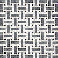 Savannah, a hand-cut stone mosaic, shown in polished Calacatta, Bardiglio, and Nero Marquina.