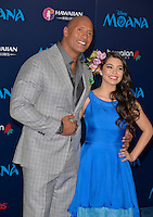 "HOLLYWOOD, CA - NOVEMBER 14: Dwayne Johnson and Auli'i Cravalho attend the AFI FEST 2016 Presented By Audi - Premiere Of Disney's ""Moana"" at the El Capitan Theatre in Hollywood, California on November 14, 2016. Credit: Koi Sojer/Snap'N U Photos/MediaPunch"