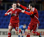 St Johnstone v Aberdeen...13.12.11   SPL .Ryan Jack celebrates his goal with Richie Foster.Picture by Graeme Hart..Copyright Perthshire Picture Agency.Tel: 01738 623350  Mobile: 07990 594431