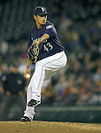 Seattle Mariners' reliever Brandon League throws against the Baltimore Orioles at SAFECO Field in Seattle April 19, 2010. The  Mariners beat the Orioles 8-2. Jim Bryant Photo. &copy;2010. ALL RIGHTS RESERVED.