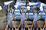 19 November 2014: UNC cheerleaders. The University of North Carolina Tar Heels hosted the Oklahoma State University Cowgirls at Carmichael Arena in Chapel Hill, North Carolina in a 2014-15 NCAA Division I Women's Basketball game. UNC won the game 79-77.
