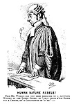"Human Nature Rebels! Poor Mr Wiggles has just been described by a facetious Witness of the Lower Orders as ""That there h'old Bloke wiv a Choker, an' a Cauliflower on 'is 'ed""!!! (a Victorian cartoon shows a barrister who in shock has dropped his reading glasses)"