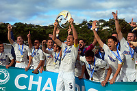 The Auckland team celebrates victory after the Oceania Football Championship final (second leg) football match between Team Wellington and Auckland City FC at David Farrington Park in Wellington, New Zealand on Sunday, 7 May 2017. Photo: Mike Moran / lintottphoto.co.nz