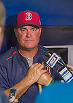 1 April 2016: Boston Red Sox Manager John Farrell chats with the media prior to a pre-season exhibition game against the Toronto Blue Jays at Olympic Stadium in Montreal, Quebec, Canada. The Red Sox defeated the Blue Jays 4-2 in the first of two MLB weekend exhibition games, which saw an attendance of 52,682 at the former home on the Montreal Expos. Mandatory Credit: Ed Wolfstein Photo *** RAW (NEF) Image File Available ***