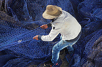 Man sorting blue fishing nets at the fishing harbour at M'diq or Rincon, M'diq-Fnideq, on the Mediterranean coast of Morocco. M'diq has 2 harbours, one for tourism and the other for its traditional industry of fishing. Picture by Manuel Cohen
