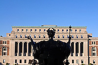 Butler Library, Alma Mater Statue, Columbia University, Morningside Heights, Manhattan, New York CIty, New York, designed by  James Gamble Rogers, Classical Revival