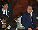 June 26, 2012, Tokyo, Japan - Japans Prime Minister Yoshihiko Noda, right, has a few words with Minister of Foreign Affairs Koichiro Genba before voting on the sales tax hike legislation during a plenary session of the Diets lower house in Tokyo on Tuesday, June 26, 2012. The House of Representatives passed the sales tax hike legislation with the backing of two main opposition parties by 363 to 96 votes. (Photo by Natsuki Sakai/AFLO)