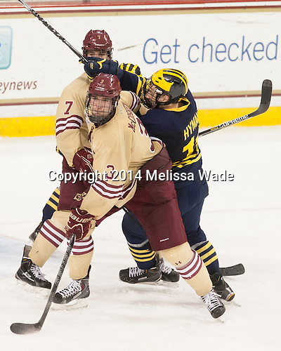 Ian McCoshen (BC - 3), Zach Hyman (Michigan - 11), Noah Hanifin (BC - 7) - The Boston College Eagles defeated the visiting University of Michigan Wolverines 5-1 (EN) on Saturday, December 13, 2014, at Kelley Rink in Conte Forum in Chestnut Hill, Massachusetts.