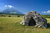 Maiella National Park, Abruzzo, Italy, June 2008. Traditional stone shelters for lifestock and storage are tipical for the Abruzzo region. Photo by Frits Meyst/Adventure4ever.com