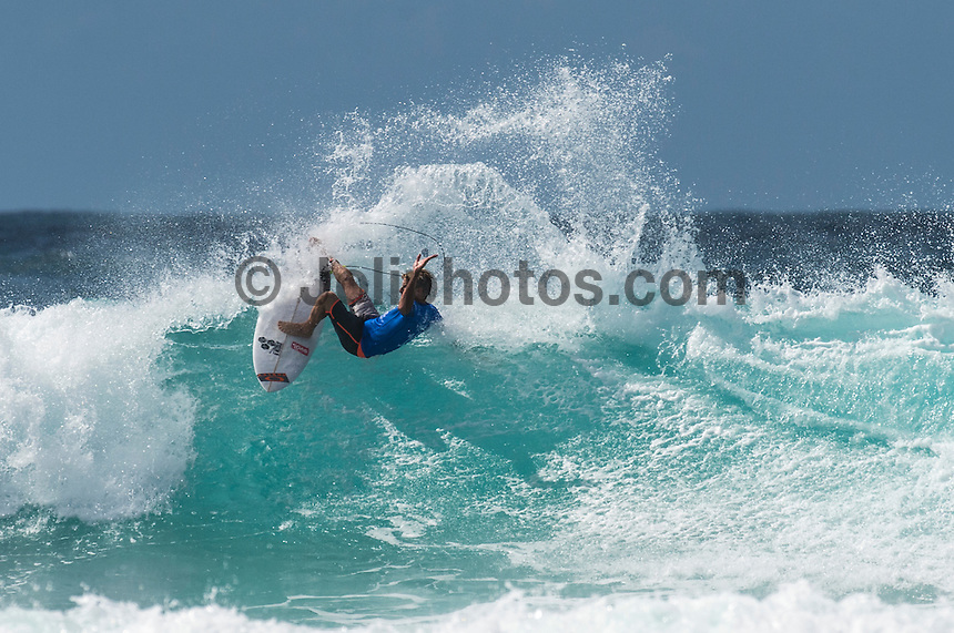 Snapper Rocks, Coolangatta Queensland Australia (Monday, March 14 2016): Sebastian Zietz (HAW) - Round Two of the first WCT event of the year, the Quiksilver Pro Gold Coast, was completed this morning followed by Round Three and two heats of Round Four.  The upsets continued with the Tour Rookies taking out out a good proportion of the heats with Stu Kennedy(AUS) again showing great form by defeating Gabriel Medina (BRA). The event was put on hold for over 2 hours while organisers waited for the tide to drop. The surf was in the 4'-5' range most of the day.Photo: joliphotos.com