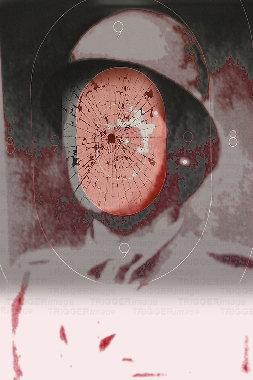 Conceptual image of faceless soldier with bullet hole