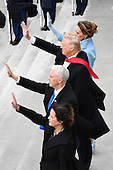 United States President Donald Trump, First Lady Melania Trump, Vice President Mike Pence, and Karen Pence wave as former US President Barack Obama and Michelle Obama depart during the 2017 Presidential Inauguration at the US Capitol in Washington, DC on January 20, 2017.<br /> Credit: Jack Gruber / Pool via CNP