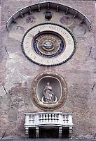 Mantova, Piazza delle Erbe, la Torre dell'Orologio. Dettaglio dell'orologio astronomico.<br /> Mantua, Piazza delle Erbe,  the Clock Tower. Astronomical Clock detail.
