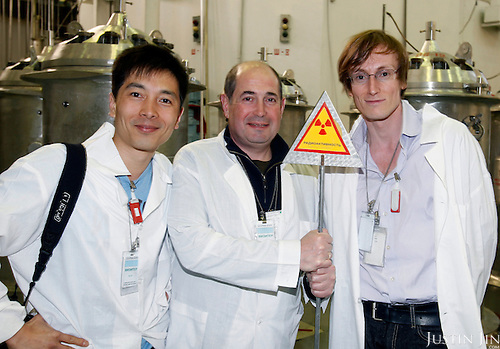 Igor Bolshinsky (C) with Justin Jin (L) and Malte Henk (R) at the Institute of Nuclear Physics in Almaty, Kazakhstan. .The removal of Kazakhstan's highly enriched uranium (HEU) is part of the U.S. Global Threat Reduction Initiative (GTRI), where Igor Bolshinsky and Kelly Cummins work, that tries to secure nuclear material around the world to prevent their misuse by terrorists and rogue states.