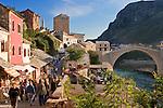 View from the East Bank (Kujundziluk) of the Neretva River, Mostar, Hercegovina