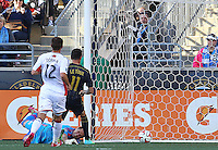 CHESTER, PA - March 15 2014: Sebastian Le Toux scores during the New England Revolution vs. Philadelphia Union MLS match at PPL Park, in Chester, PA.<br /> Union won 1-0.