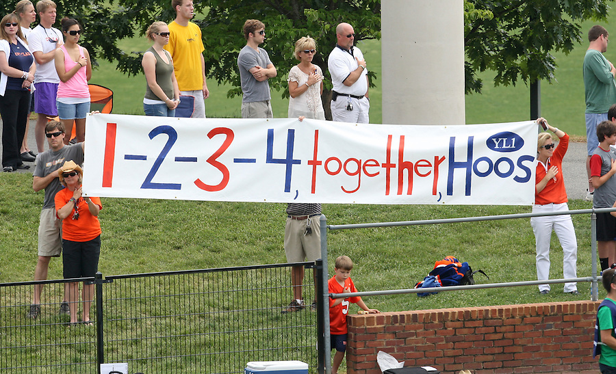 Fans show their support during the University of Virginia women's lacrosse teams first game since the tragic death of teammate Yeardley Love Sunday May 16, 2010 at Klockner Stadium in Charlottesville, Va. The Cavaliers rallied in the last four minutes to beat Towson 14-12 and reach the quarter finals of the NCAA tournament. Love's body was found May 3, and Virginia men's lacrosse player George Huguely is charged with murder. Photo/Andrew Shurtleff..