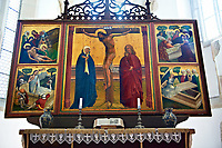 Gothic Tryptic on wood, 1450 - 1460. The only example of medieval double sided sacrial painting in Romania. The figures are in typical Saxon dress of the period. Prejmer Fortified Church, Transylvania. Unesco World Heritage Site.