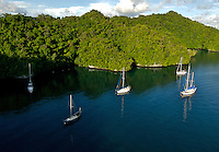 Sailing Boats, Yachts at the Palalu Yacht Club area, Aerial Rock Islands, Palau