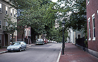 Providence:  Early 19th Century Streetscape along Hillside, upper slope to left, valley to right looking south on Benefit from Star St.  Photo '91.