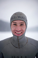Guillaume Néry from France. Freediving competition Oslo Ice Challenge at freshwater lake Lutvann outside the Norwegian capital Oslo. Atheletes, including current and former world champions, entered a hole in the ice to compete. The participants reached depths down to 52 meters below the surface.
