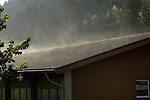 Mist rising from roof in the Black forest. Tennenbron,Schramberg, Wurttemburg, Germany.