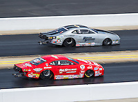 Sep 18, 2016; Concord, NC, USA; NHRA pro stock driver Drew Skillman (near) races alongside Chris McGaha during the Carolina Nationals at zMax Dragway. Mandatory Credit: Mark J. Rebilas-USA TODAY Sports