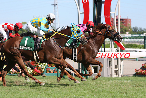 (R-L) Smart Orion ( Mirco Demuro), Alma Divin (Yusuke Fujioka), JULY 26, 2015 - Horse Racing : Smart Orion ridden by Mirco Demuro wins the Toyota Sho Chukyo Kinen at Chukyo Racecourse in Aichi, Japan. (Photo by Eiichi Yamane/AFLO)