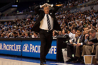 Mike Montgomery after Jorge Gutierrez gets his 4th foul. The California Golden Bears defeated the UCLA Bruins 85-72 during the semifinals of the Pacific Life Pac-10 Conference Tournament at Staples Center in Los Angeles, California on March 12th, 2010.